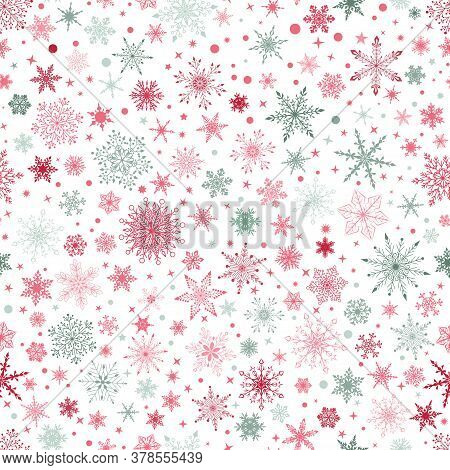 Christmas Seamless Pattern With Various Complex Big And Small Snowflakes, Red And Gray On White Back