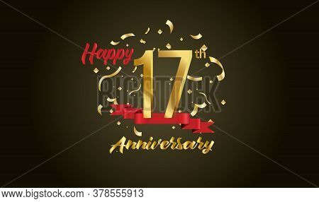Anniversary Celebration Background. With The 17th Number In Gold And With The Words Golden Anniversa