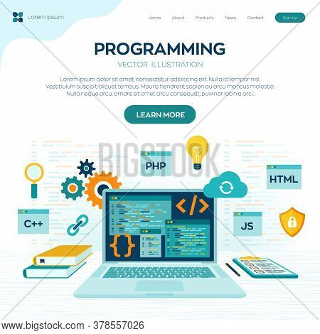 Programming Banner, Coding, Best Programming Languages. Development And Software Concept. Computer C