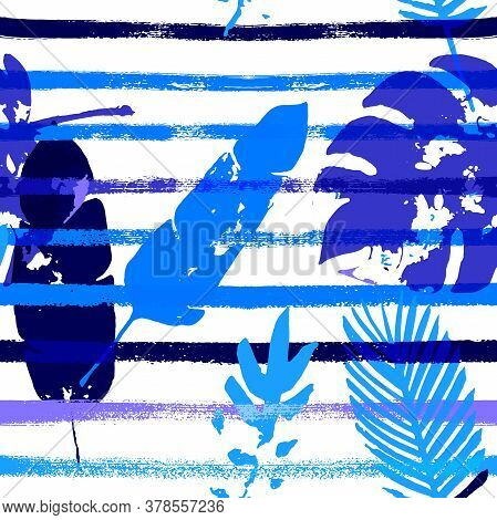 Sailor Stripes Vector Seamless Pattern, Blue Pink Purple Indigo Floral Textile. Watercolor Jungle Le