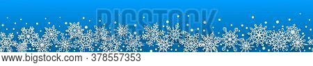 Christmas Seamless Banner Of Paper Snowflakes With Soft Shadows On Light Blue Background. With Horiz