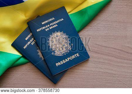 Brazilian Passport. Written In Portuguese Mercosur. Federative Republic Of Brazil. Passport. Space C