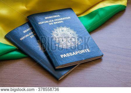 Brazilian Passport. Written In Portuguese Mercosur. Federative Republic Of Brazil. Passport.