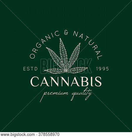 Logo Marijuana Leaf In A Trendy Minimal Linear Style. Badge Of Medical Cannabis Leaf. Vector Icon Of