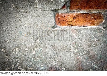 Wall Background. Old Rough Stone On Cement Pattern Wall Background. Vintage Grunge Plaster Or Concre