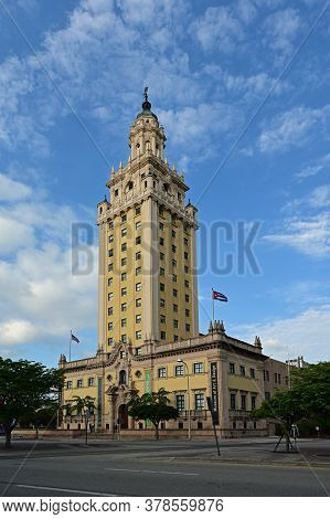 Miami, Florida - April 5, 2020 - Freedom Tower On Biscayne Boulevard With Background Of Dappled Whit