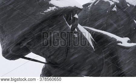Iwo Jima Memorial In Arlington, Va In A Snow Storm Super Closeup