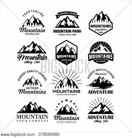 Mountain Adventure Badge Travel Sets. Vector Emblem Expedition Seals. Base Camp Hill Vintage Style.