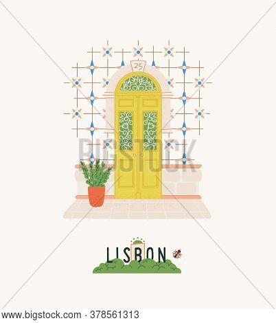 Portugal Travel Postcard. Lisbon City Print With Exterior Elements: Beautiful Door, Azulejo Tile. De