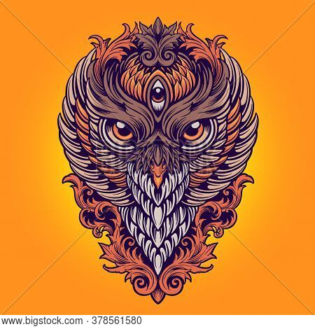 King Owl Colorfull Ornaments Illustrations For Merchandise Sticker Clothing Line Brand And Fashions