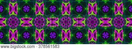 Decorative Tile Pattern. Faience Square Flower Cyberpunk Style. Decorative Tile Background. Magenta