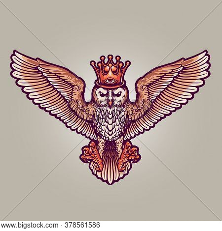 King Owl Mascot Full Colour Illustrations For Merchandise Logo Mascot And Design Clothing Line