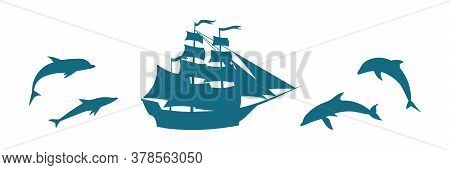 Vector Set With Old Ship And Dolphin Illustration. Blue Silhouette Of Sea Mascot. Marine Life Cartoo