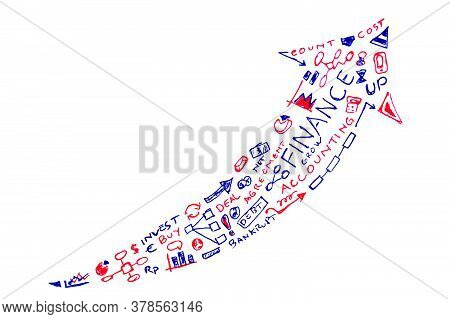 Vector Blue And Red Hand Draw Sketch, Finance Terminology In Arrow Formation.