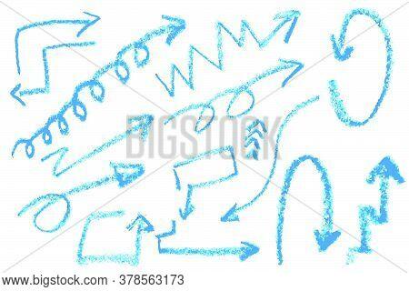 Vector Hand Draw Sketch Various Arrow With Black Crayon.