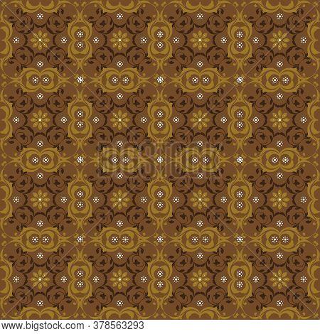 Unique Flower Pattern On Bantul Batik Design With Olive Brown Color Design.