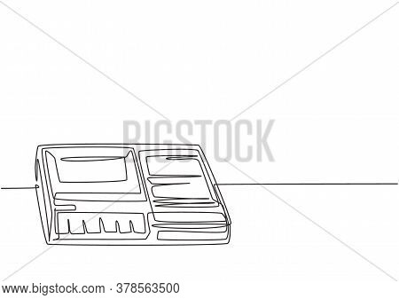 One Continuous Line Drawing Of Retro Old Classic Analog Portable Tape Recorder. Vintage Mobile Sound