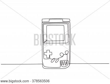 Single Continuous Line Drawing Of Portable Arcade Video Game Watch. Vintage Console Game Item Concep