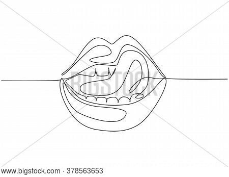 One Single Line Drawing Of Old Retro Classic Iconic Lips And Tongue From 80s Era. Vintage Icon Conce