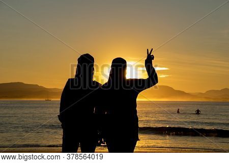 Portrait Two Girls On Beach, And Golden Sunset View Background From Nsw, Australia, Sydney 2018
