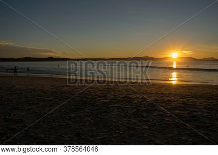 Panoramic Sunset On The Beach, View From Nsw, Australia, Sydney 2018
