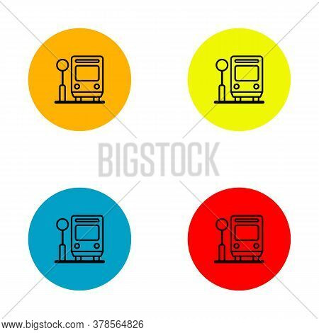 Set  Bus Stop Icon With Circular Color On White Backgroaund. Bus Stop Icon Trendy And Modern. Bus St