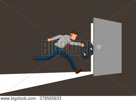 Businessman Running Towards A Open Light Door. Concept Of Leadership, Courage Or Looking For Opportu