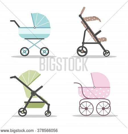 Baby Carriages Icon Set. Colorful Prams On White Background. Vector Illustrations In Flat Style.