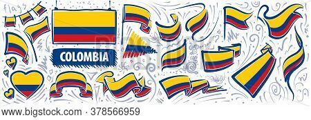 Vector Set Of The National Flag Of Colombia In Various Creative Designs