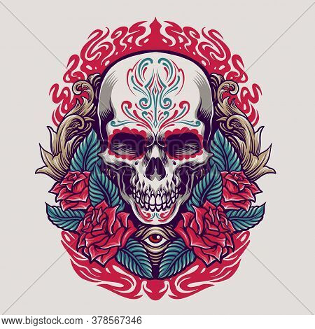 Dia De Los Muertos Mexican Skull Illustration Culture And For Merchandise Stickers, Clothing Line