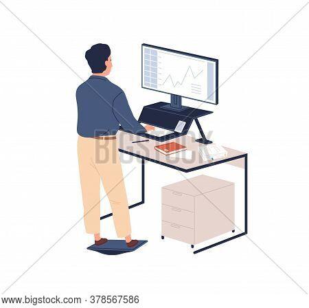 Male Employee Behind Ergonomic Furniture Working On Computer Vector Flat Illustration. Man Standing