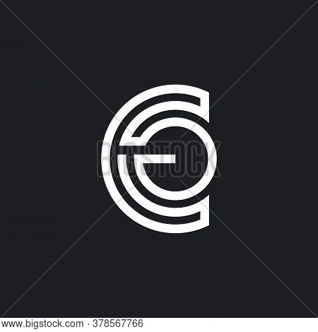 Abstract Letter Cg Stripes Linear Design Symbol Vector
