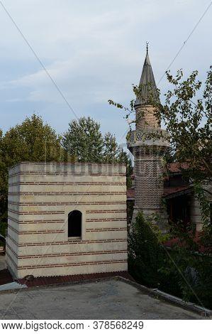 Istanbul,turkey - November 4, 2019:hazreti Kaab Mosque At The Ancient Walls Of Constantinople. Istan