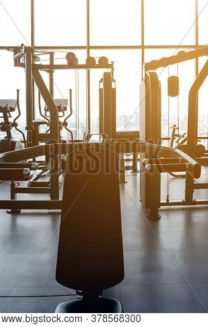 Image Of Exercise Machines In An Empty Gym