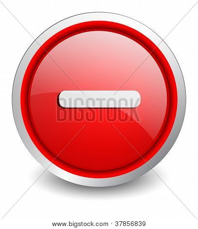 Minus red button - design web icon