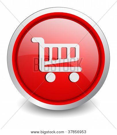 Shopping cart red button - design web icon