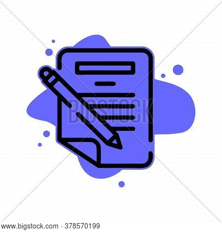 Pen Writing Paper Icon. Outline Pen Writing Paper Vector Icon For Web Design Isolated On White Backg