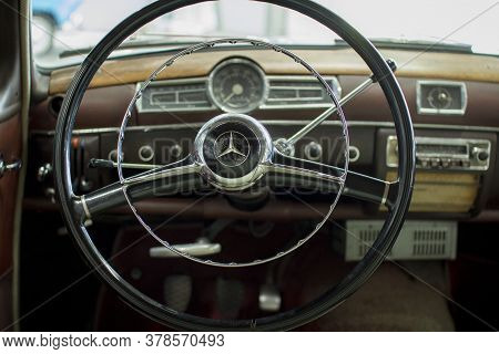 Vologda. Russia-july 2020:: The Mercedes Model Is Presented At A Unique Exhibition Of Retro Cars In
