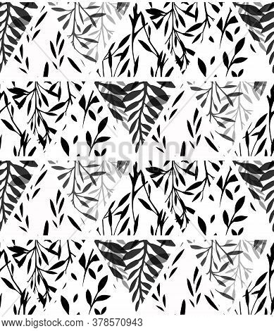 Black And White Geometric Natural Pattern. Silhouette Of Fern, Leaves, Twig And Grass In Triangles O