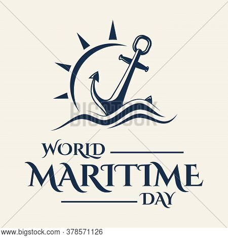 World Maritime Day With Anchor In Flat Style. Holidays Around The World Of Maritime Day. Vector Illu