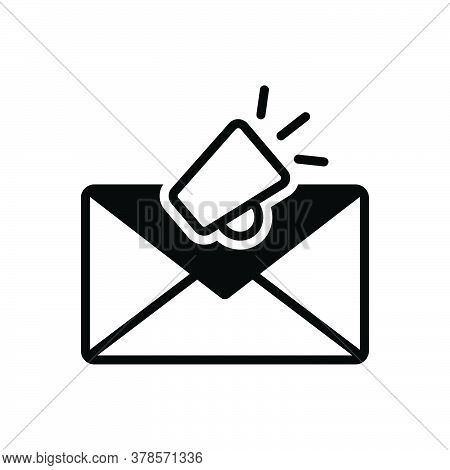 Black Solid Icon For Email-marketing Envelope Newsletter Promotion Marketing Megaphone Publicity Com