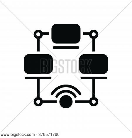 Black Solid Icon For Networking Multicast Cyber Security Management Wifi Connection Technology Organ