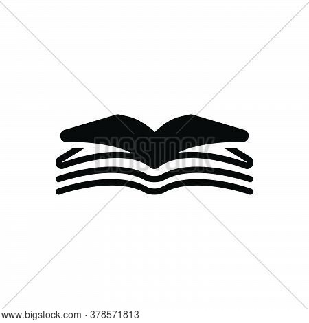 Black Solid Icon For Open-book Open Book  Magazine Textbook Publication Encyclopedia Magazine Textbo