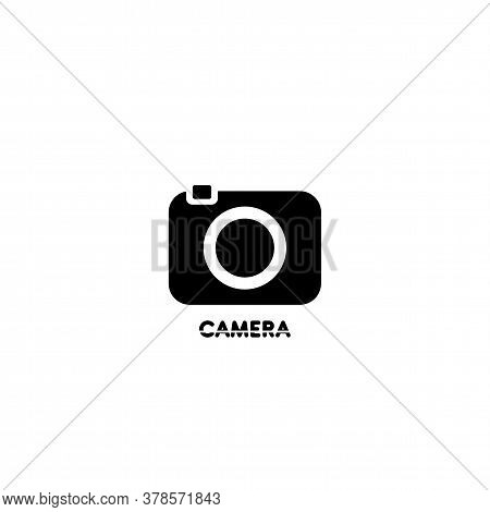Vector Black And White Logo With A Camera. Logo For A Photo Studio. Design Element For Studio, Photo