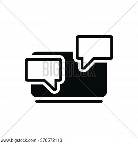Black Solid Icon For Chat Chatting Messaging Laptop Technology Bubble Discussion Conversation Dialog