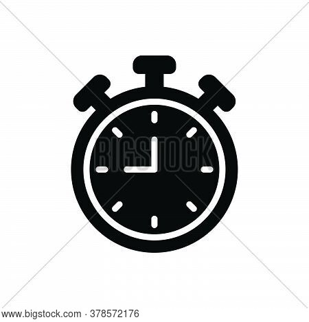 Black Solid Icon For Clock Alarm-clock  Watch Waking-up Time Reminder Antique Countdown Deadline Tim