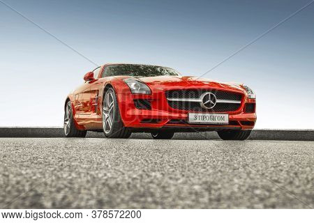 Kiev, Ukraine - May 19, 2020: Luxury Supercar Mercedes-benz Sls Amg Against The Sky. Wallpaper. For