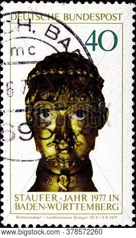 02 09 2020 Divnoe Stavropol Territory Russia The Postage Stamp Germany 1977 Staufer-year Baden-wurtt