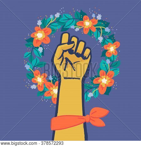 Floral Symbol Of Feminism Movement. Woman Hand With Her Fist Raised Up. Wreaht Of Flowers. Girl Powe