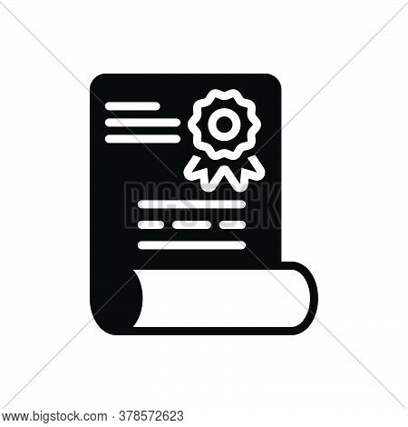 Black Solid Icon For Diploma Patent Degree Certificate Folder Education Document Graduation Qualific